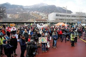 Protesters dressed as koala hike Swiss mountains