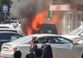 Car catches fire on Varketili road