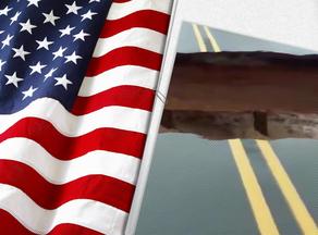 აშშ-ში ხიდი პირდაპირი ეთერში, რეპორტაჟის დროს ჩაინგრა - VIDEO