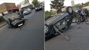 Rollover accident in Tbilisi - PHOTO