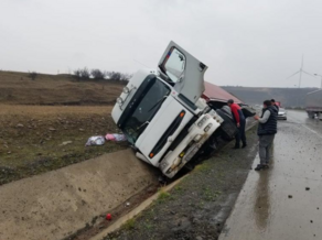Two trucks crash into each other on Tbilisi bypass road