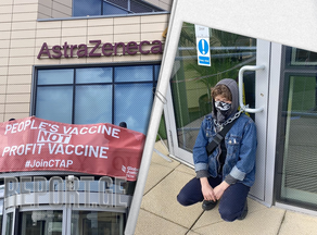 Activists block entrance to AstraZeneca's office