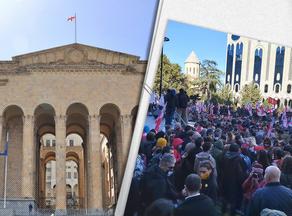 Оппозиционные партии Грузии начали акцию протеста перед зданием парламента