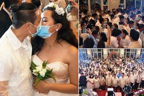 Массовая свадьба в масках  - ВИДЕО