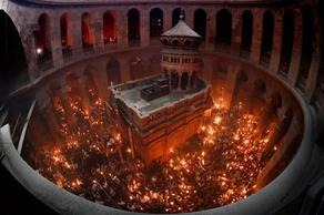 Holy fire descends in Jerusalem