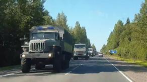 CIT: ბელარუსისკენ როსგვარდიის ათობით მანქანა მიემართება - VIDEO